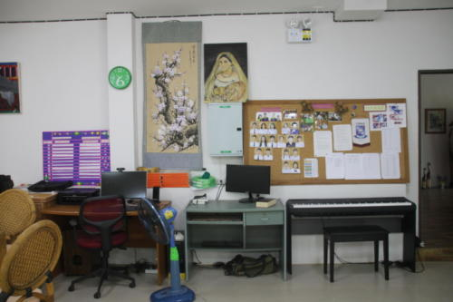 Communication board, student computers and chores board.