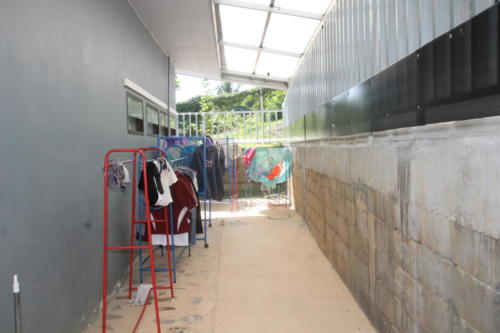 Drying area for girl's clothing.