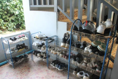 Shoe racks for our students.