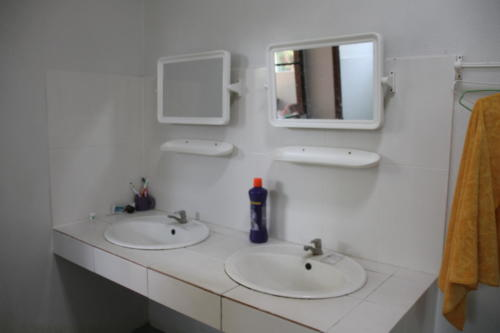 Boy's bathroom sinks.